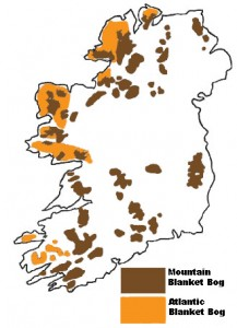 Map showing the Distribution of Blanket Bogs in Ireland