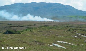 Fire on Roundstone Bog Complex, Connemara, Co. Galway associated with Turf Cutting
