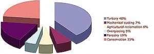 Peatland Utilisation in Ireland 2009 according to the IPCC's Conservation Action Plan 2020