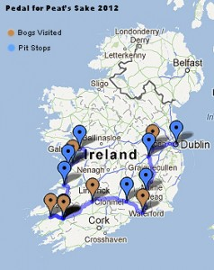 Annie Capell Pedal for Peat's Sake Half Way Map of Ireland 2012
